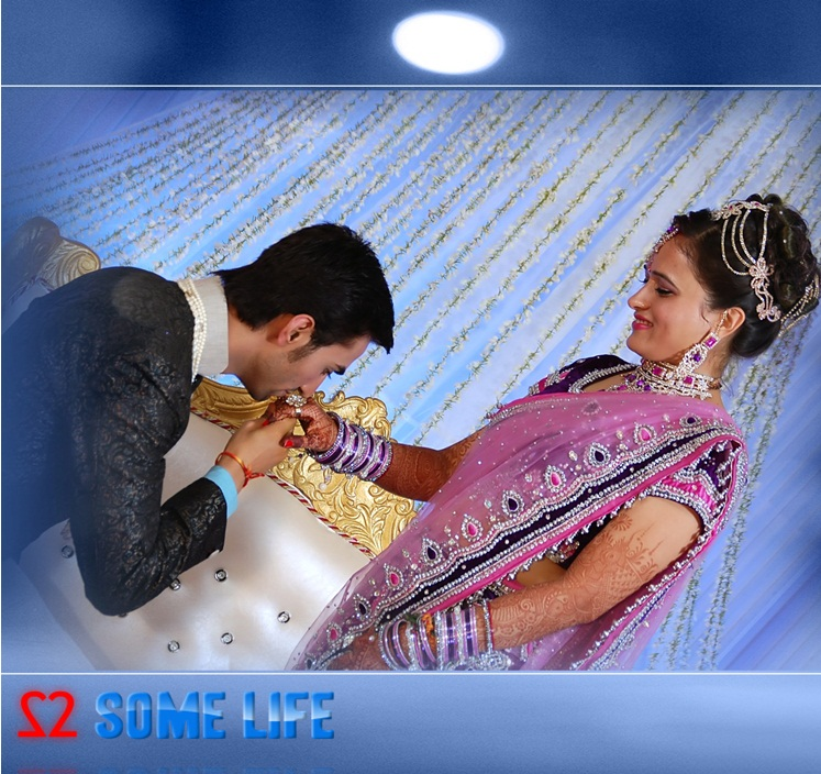 Indian Wedding reception couple pose