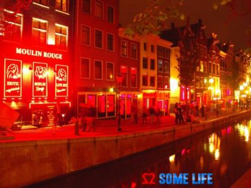 Amsterdam red light district canal side