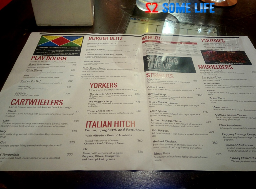 Aufside Sports bar Pune Food Menu